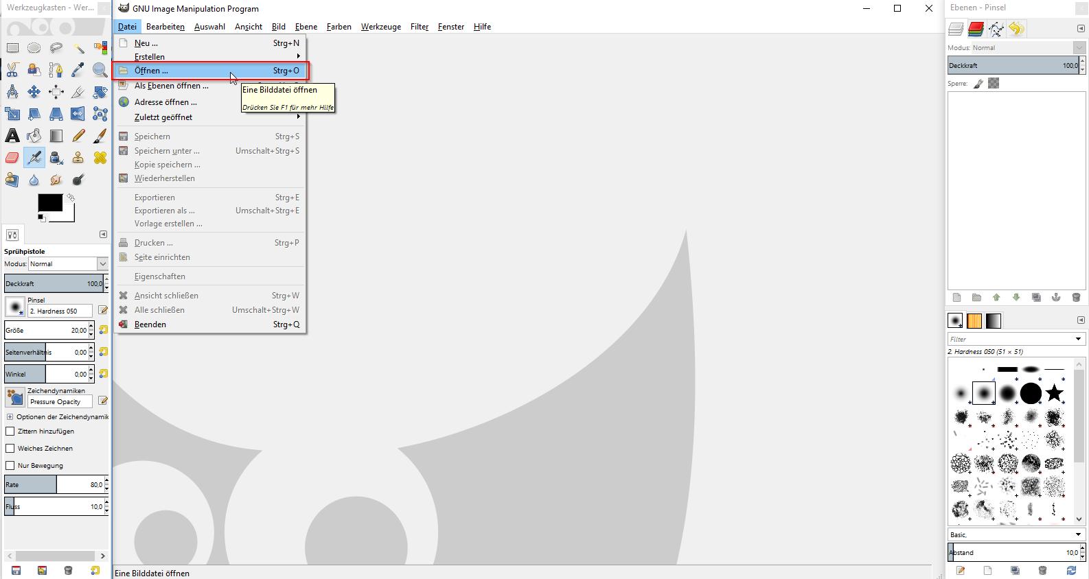 Bild in GIMP öffnen und komprimieren